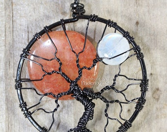 Solar Eclipse Sun and Moon Tree of Life Pendant Black Wire Wrapped Necklace Rainbow Moonstone Jewelry Opal Halloween Harvest Moon Celestial