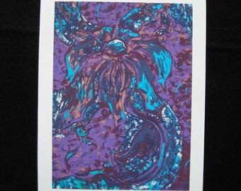 Purple Flower - Fine Art Print on Watercolour Paper