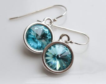 March Birthstone Aquamarine Crystal Silver Earrings