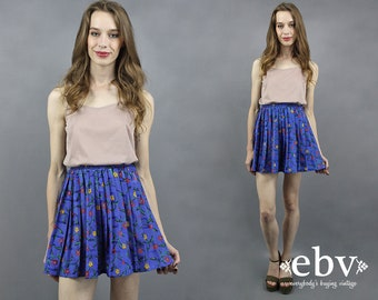 Pleated Mini Skirt Blue Floral Skirt Floral Mini Skirt Pleated Skirt High Waisted Skirt High Waist Skirt Blue Mini Skirt Skater Skirt XS S M