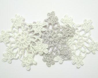 Silver snowflake Crochet snowflakes Christmas decor Christmas ornaments Hanging ornaments White Christmas decor Winter window decor