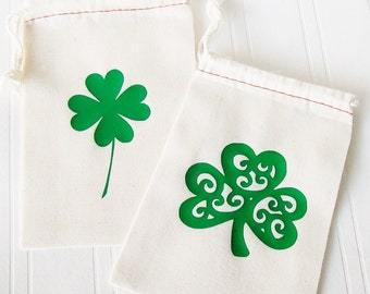 Shamrock Gift Bag St. Patrick's Day Party Favor Goody Bag, Shamrock, Saint Patrick's Day, four leaf clover, custom tote bag, lucky charm