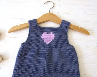 Crochet Heart Baby Pinafore / Dress Written Pattern