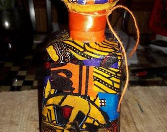 African glass bottle artwork