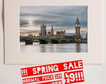 London Big Ben 7 Parliament at Thames in Winter, colour A3 print SALE-08