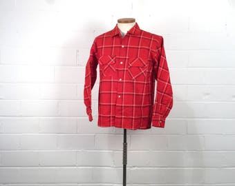"""Vintage 50s Mens Red Plaid Long Sleeve Flannel Shirt, Windowpane Check Cotton Lumberjack Shirt, New Old Stock, C44"""", 1950s Mens Casual Wear"""
