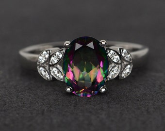 mystic topaz ring silver rainbow topaz ring mystic topaz engagement ring oval cut
