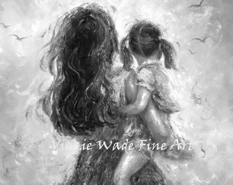 Mother Daughter Art Print black and white, mom, little girl, motherhood, carrying, figurative, painting, print, art wall decor, Vickie Wade