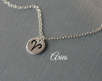 Aries Necklace - Hand Stamped Zodiac Necklace in Sterling Silver - Astrological sign, Horoscope Jewelry