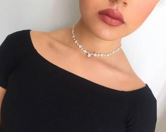 Silver choker, crystal choker necklace, adjustable choker, ladies choker, choker necklace, diamonte choker, bridal choker, bridesmaid giff