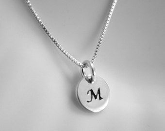 Custom Initial Necklace, Sterling Silver Initial Necklace, Letter Necklace, Monogram Necklace, Layering Necklace, Choker Necklace