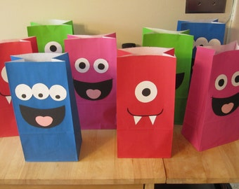 Set of 12 Monster Birthday Party Favor Bags