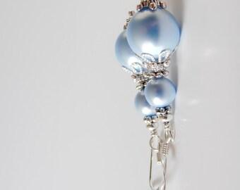Light Blue Pearl Earrings, Bridesmaid Earrings, Something Blue Wedding Jewelry, Swarovski Pearl Dangles, Beaded Earrings, Bridal Earrings