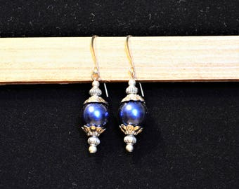 Dark Blue Short Drop Earrings