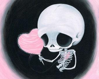 Sugar Fueled Skeleton Cotton Candy Heart Halloween Pop Surrealism Surreal Lowbrow creepy cute big eyes eye art print