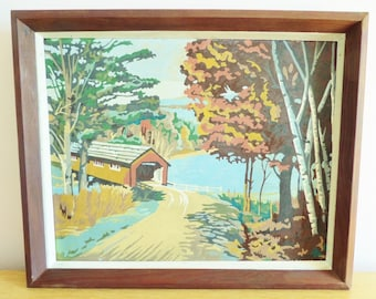 Vintage Paint By Number Painting - Covered Bridge Landscape - Mid Century Wooden Frame