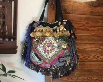Bohemian Gypsy Bag, vintage needlepoint doily, handmade ooak, upholstery grade fabrics, beads buttons, tassel fringes, sequins lace