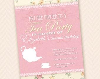 Whimsical Girls Tea Party Birthday Invitation