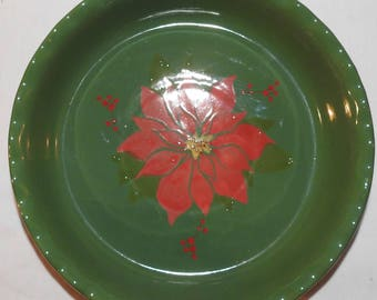 Vintage Green Red Poinsettia Christmas Pie Dish Plate Ceramic