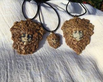 Autumn Greenman Pendant Necklace, Greenman, Green man, Brown, Autumn leaves