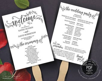 Wedding Program FAN PDF template, instant download editable printable, Ceremony order fan in calligraphy rustic theme, fan pdf (TED418_8F)