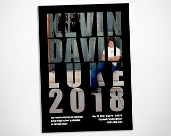 Modern graduation announcement and party invitation, class of 2018, graduation party invitation with photo