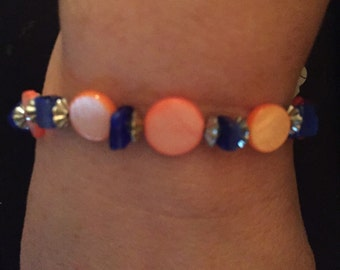 Peach and blue bracelet