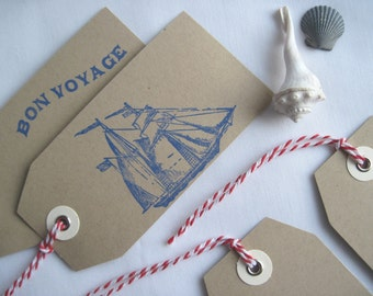 Nautical Set of 10 Gift Tags Tied w/ Red & White Baker's Twine, Coastal Style Tags, Place Settings, Hand-Stamped in Blue on Kraft, 5 Designs
