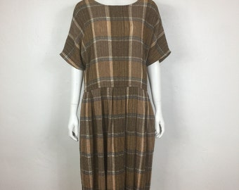 Vtg 70s woven plaid drop waist 70s minimalist avant garde dress medium