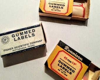 Vintage Dennison gummed labels/three Dennison gummed label boxes/vintage advertising/vintage boxes/vintage office supply/junk journal supply