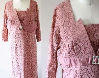 1960s pink lace dress// 1960s dusty rose dress // vintage dress
