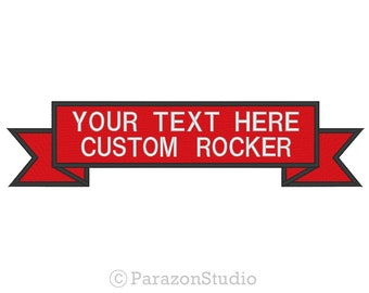 Custom Embroidered Two Lines Top Ribbon Rocker Sew on Patch RR-2LINES