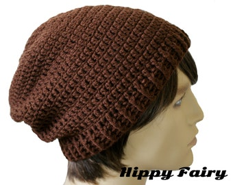 Mens Chocolate slouch beanie hat