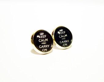 Super Cute Black Keep Calm Silver Plated Earrings