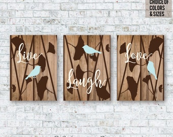 Gingko Flowers with Birds Live Laugh Love Faux Wood Rustic Look Unframed Wall Art Print Set of (3) 5 x 7, 8 x 10 OR 11 x 14 // Home Decor