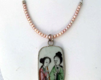 Antique Chinese Porcelain, Pearl and Sterling Silver Necklace
