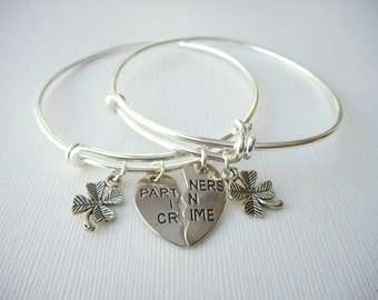 2 Partners in Crime, TINY Four Leaf Clover- Best Friend Bracelets/ In crime jewelry, in crime bracelet, bff jewelry, gift ideas, Sister gift