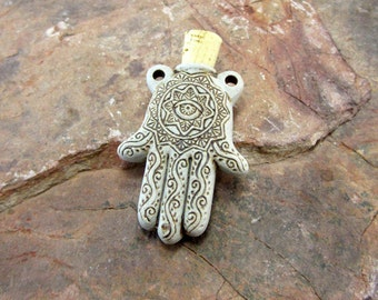 Peruvian Ceramic High Fire Hamsa Hand Bottle