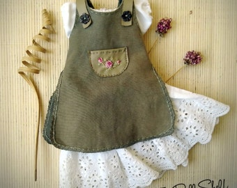 Green dress, blouse and underskirt for doll, 12-14-16-18 inch doll dress, Waldorf doll clothes - Waldorf doll dress, olive green doll set