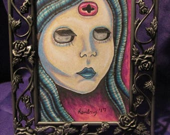 Dollface in Silver Frame Original Drawing