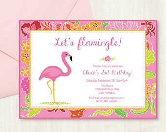 Pink Flamingo Party Invitation with Editable Text, Printable Pink Flamingo Party Invitation to Personalize and Print at Home
