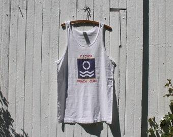 1980s graphic tank, summer tank, sleeveless tee, muscle tee, jersey knit, cotton, ptown beach club, provincetown souvenir, xl, blue, red