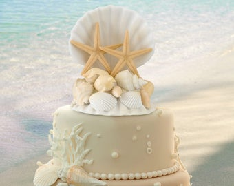 Seashell Wedding Cake Top, Sea Shell Cake Topper, Beach Wedding Cake Topper