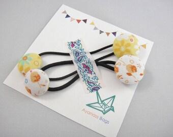 Japanese Ponytail holders, Set of 2, Flowers, Yellow