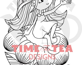 Blooming Lovely Flutterfly Digital Stamp, Line Drawing Illustration, Paper Craft, Adult Colouring, Card Making, Girl Stamps, Butterfly, Digi