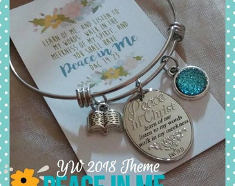 Young Women 2018 theme, Peace in Christ, stainless steel expandable bracelet, LDS jewelry, custom scripture charm