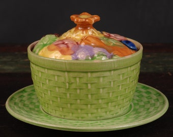 Vintage Majolica Covered Dish with Plate, Japan