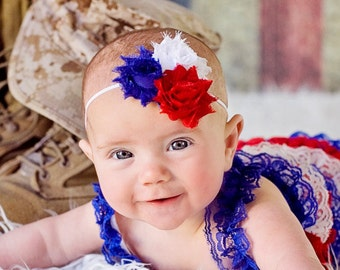 4th of July headband, Independence day Flower headband, Red White Blue shabby Baby bow, newborn headband, toddler girl