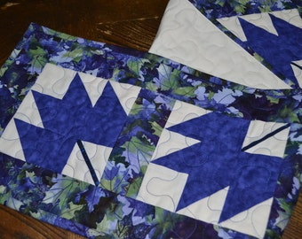 Blue Quilted Table Runner, Maple Leaf, Long Cotton Runner
