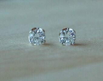 6mm Cubic Zirconia Argentium Silver Earrings - 4 Prong - Nickel Free Hypoallergenic Stud Earrings
